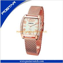 Reloj de pulsera con cadena de acero inoxidable plateado rosa