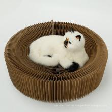 Faltbare Cat Scratch Board Runde Katzenminze Papier Cat Scratcher Lounge