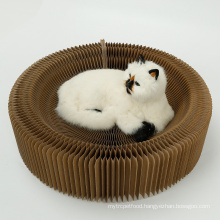 Foldable Cat Scratch Board Round Catnip Paper Cat Scratcher Lounge