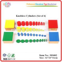 Montessori Material Toy Knobless Cylinders (Conjunto de 4) Materiais de madeira educacionais