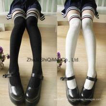 Escola de algodão penteado estudantes até o joelho meias meias