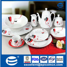 Decorado porcelana 47pcs jantar conjunto