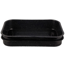 (LONGFEI) Deep Rectangle Shape Enamel Barbecue Tray
