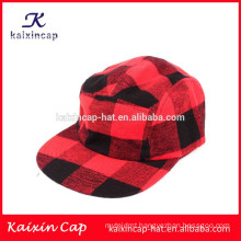 red and black crossed crown and brim custom cheap 5 panel camp cap