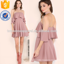 Frill Bardot Skater Dress Manufacture Wholesale Fashion Women Apparel (TA3176D)