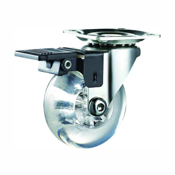 75mm Transparent PU Brake Caster Wheels