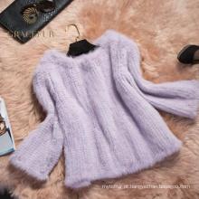 Casaco de pele de vison de malha atraente para venda
