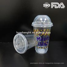 Copo descartável 17oz claro plástico barato dos PP da venda quente com plástico da tampa