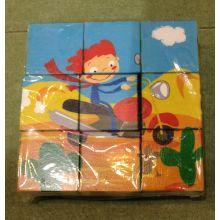 9PCS hölzerne sechs Seiten Puzzlespiel-Blöcke für Kinder und Kinder