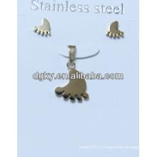 Pendentif et boucle d'oreille en acier inoxydable plaqué or