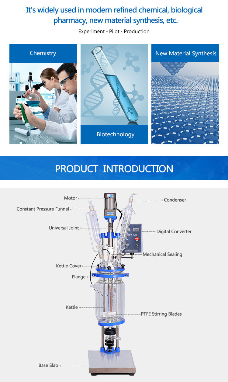 5l 50l 100l vvvf Lab Double Layer Glass Reactor
