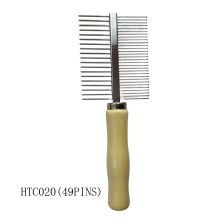 Wooden handle metal comb product grooming pet combs