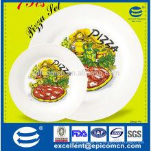 Diseño de pizza con patrón 7 piezas cerámica placa de pizza conjunto con placa 1big y 6 pequeños
