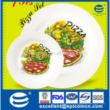 Ensemble de plaques de pizza en céramique à motifs de pizza de 7pcs avec plaque 1big et 6 petits