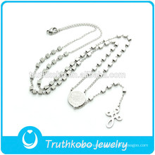 TKB-N0014 2015 Newest Sliver Rosary Bead&Catholic Cross Virgin Mary Jewelry High Quality Stainless Steel Necklace