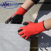 NMSAFETY дешевые 13г красные полиэстер нитрила промышленные перчатки безопасности