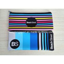 Bolso de lápiz de neopreno de colores completos para estudiantes, bolsas de lápiz de neopreno