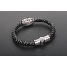 Herren schwarzes Lederband Armband KSQN-24