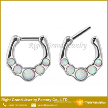 White Synthetic fire opal Septum Stainless Steel Nose Ring Jewelry