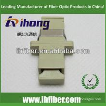 SC simplex multimode fiber optic adapter, Beige housing