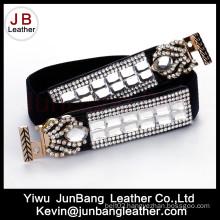 Fashion Elastic Webbing Lady PU Belt for Dress