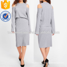 Open Shoulder Ribbed Tee & Skirt Set Manufacture Wholesale Fashion Women Apparel (TA4105SS)