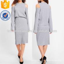 Abra o ombro com nervuras Tee & Skirt Set Fabricação Atacado Moda Feminina Vestuário (TA4105SS)
