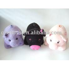 recheado e pelúcia piggy caixa de poupança de dinheiro, banco de moeda animal