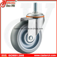 Medium Duty Gray TPR Rubber Swivel Casters with Threaded Stem