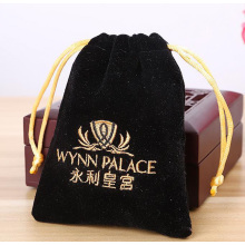 Black embroidery pouch with gold string