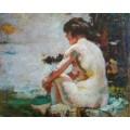 Ручная индийская обнаженная женская живопись на холсте Ebf-034