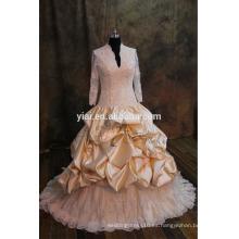 J-0024 de lujo de encaje de oro pesado muselina muselina tul ruffles v-cuello vestido de novia