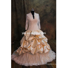 J-0024 luxury gold lace heavy beadling muslim tulle ruffles v-neck wedding dress
