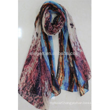 In Stock Polyester Scarf with Symmetry Pattern Print