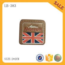 LB383 Forma quadrada mão fazendo rótulo de vestuário logo etiqueta de couro deboss para vestuário / saco / chapéu