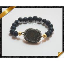 Pulseras de lava redonda de color negro, pulsera de cuentas de oro, pulseras de la joyería Druzy (CB018)