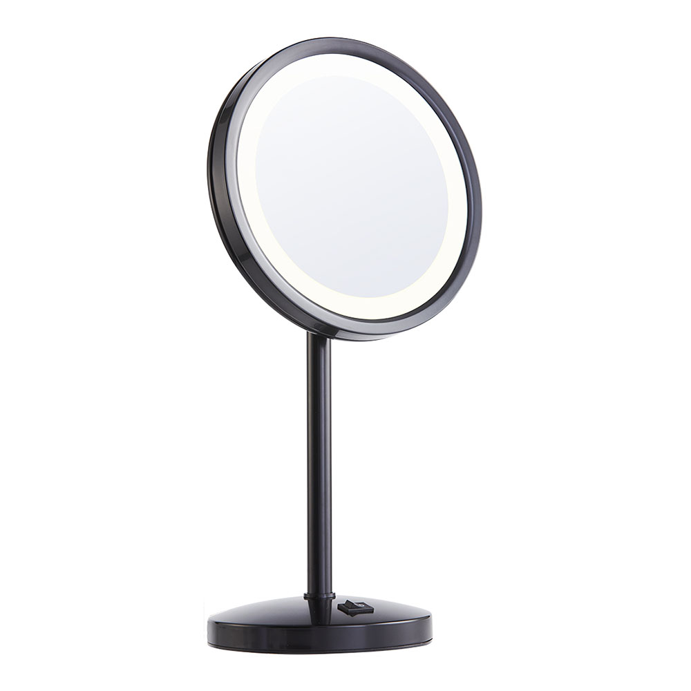 Matte+black+magnifying+vanity+mirror+with+light