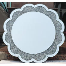Espejo colgante de cristal con forma de flor