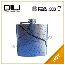 FDA 7oz silver hip flask with water transfer