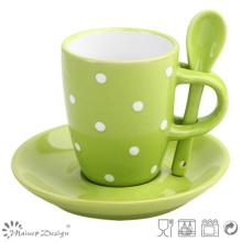 Tasse et soucoupe d'espresso de grès vert de 3.5oz avec la cuillère