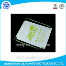 Fabricación personalizada de logotipo de impresión de plástico Drawstring Bag