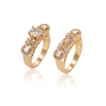 15764 xuping moda piedras preciosas sintéticas cobre ambiental 18K anillo de conjunto de color oro