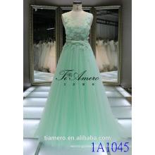 1A1045 мечтательный светло-зеленый кружева крючком лента 3D цветы аппликация рукавов Вечерние платья выпускного вечера платье невесты платье