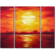 Schöne Segeltuch-Kunst-Sonnenaufgang-Meerblick-Ölgemälde für Dekor (SE-202)