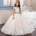 Champagne color sleeveless lace girl party wear western dress with diamond belt