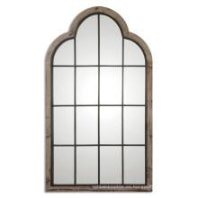 Espejo de pared en forma de puerta enmarcada hecha a mano gris acabado madera para accesorios de decoración del hogar
