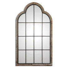 Miroir de mur formé par porte en bois fait main fini par gris pour l'accessoire de décoration à la maison