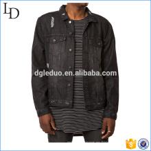 Denim trucker mens personalizada denim chaqueta de algodón negro apenado diseño