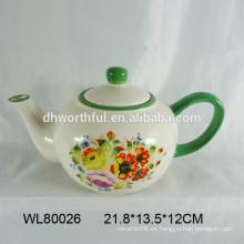 Tetera de cerámica con diseño de calcomanía de flores