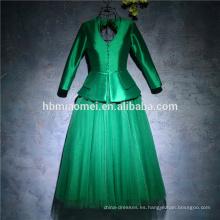 Elegante de dos piezas de color verde de tul puffy hasta la rodilla vestido de noche de manga larga para el partido
